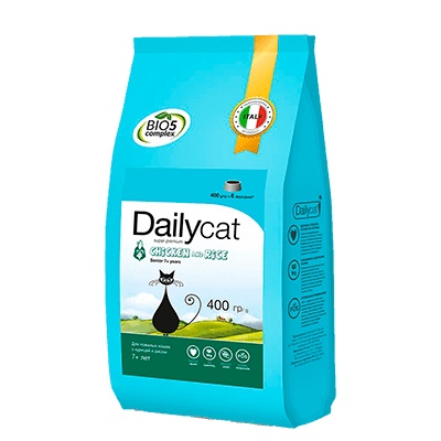 "Сухой корм ""Daily Cat"" SENIOR 400г д-пожилых кошек курица-рис"